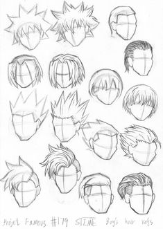 # 179 Thema: Boy 's Haar Refs von Cartoon Art Styles, Cartoon Drawings, Boy Hair Drawing, Anime Hair Drawing, Manga Hair, How To Draw Anime Hair, How To Draw Boy, Manga Drawing Tutorials, Drawing Techniques