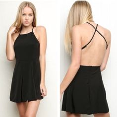 Brandy Melville Kirsten Dress Brandy Melville Kirsten dress in black. Backless with cross straps. Slightly flared skater circle skirt. Zip back. Fits size xs or small best. New with tags Brandy Melville Dresses