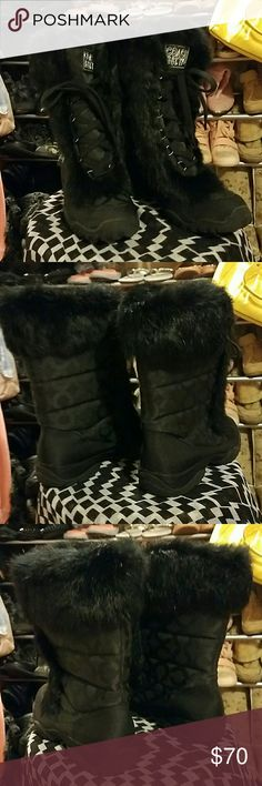 🎈 COACH Black monogram FUR BOOTS Wow I love these but they don't fit tried them on so never enjoyed. Black rabbit fur. Just all around fabulous I'm a 6 in boots and these just don't work so I'm listing as a 5.5 that should be perfect. Might have some stray cat hair but are pretty clean. 10 of 10 condition. Lace up and lined heavy boots great for winter. Inside states they are a 6b by coach but a 6 is usually big on me these are not so a 5.5 I feel is correct. Coach Shoes Winter & Rain Boots