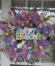 """""""HAPPY EASTER"""" -  XL Chic DecoMesh by DecorClassicFlorals on Etsy, $159.95"""