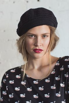 Phryne Beret by Sarah Solomon ¬ malabrigo Finito in Black ¬ Published in knit.wear Spring/Summer 2016