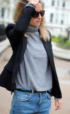 simple style Warm Outfits, Fall Winter Outfits, Autumn Winter Fashion, Grey Fashion, Fashion Outfits, Simple Style, My Style, French Style, Turtleneck Style