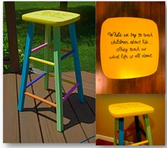 Teacher Stool    Teacher Chair.  My next project.  Make one to match the rocking chair I painted.