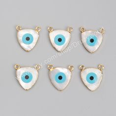 Wholesale New Design Gold Plated Triangle Natural White Shell Evil Eye Charm Bule Turquoise Evil Eye Charm Making Jewelry G0924 by…