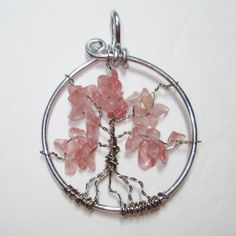 Wire wrapped jewelry handmade,wire wrap,wire wrapped pendant,Tree of Life, cherry quartz Pendant,wire sculpture pendant on Etsy, $19.75