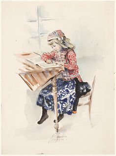 Jongetje in de rokkendracht van Marken 'lezend' aan tafel 1919-1973 kunstenaar: Cremers, Eline #NoordHolland #Marken