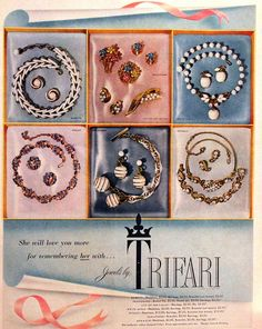 1954 Trifari Ad - Retro Vintage Jewelry Advertising - Costume - Rhinestone - 1950s - Wall Art