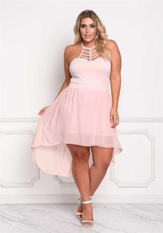 Plus Size Pearl & Rhinestone Hi-Lo Chiffon Dress