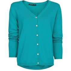 Mango V-neck cardigan (£6.99) ❤ liked on Polyvore featuring tops, cardigans, sweaters, outerwear, emerald green, women, long sleeve cotton tops, emerald green top, v-neck tops and emerald green cardigan