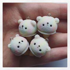 Polymer Clay Ice Cream Bears  .  .  .    #icecream #bear #rainbow #kawaii #cute #polymerclay #clay