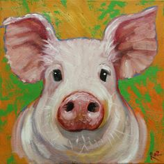 Pig+painting+72+12x12+inch+original+oil+painting+by+Roz+by+RozArt,+$95.00