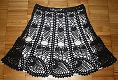 Black Pineapple Motif Skirt free crochet graph pattern