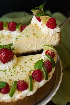 Key Lime Cheesecake - Cooking Classy More Lime Desserts, No Bake Desserts, Just Desserts, Dessert Recipes, Plated Desserts, Lime Recipes, Sweet Recipes, Key Lime Cheesecake, Keylime Cheesecake Recipe
