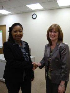 Phoenix House Academy Director LaRae Neal with Dr. Danica Knight of TCU IBR