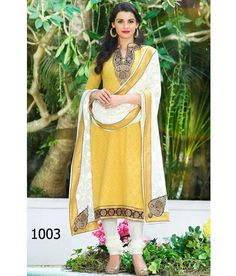 King Sales  New Fancy Yellow 	Embroidery Straight Cut Suit