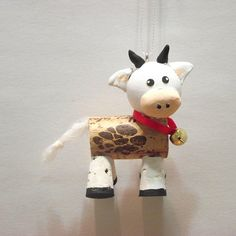 Cow ornament cow gift christmas ornament wine cork gifts