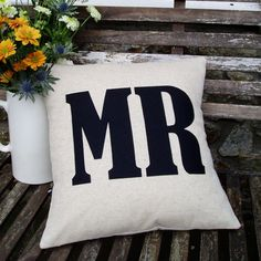 MR  word Cushion/pillow in natural linen &  by karenhiltondesigns, $70.00
