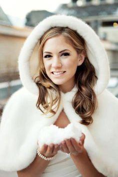 Fur cape for winter wedding