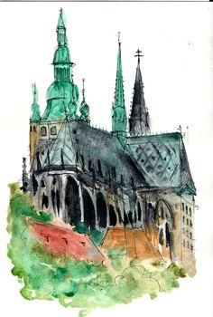 St. Vitus cathedral in Prague castle. A sketch with liner and aquarelle. Кафедральный Собор, Эскиз, Здание, Путешествия
