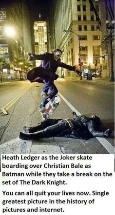 Heath Ledger as the Joker, skateboarding over Christian Bale as Batman.