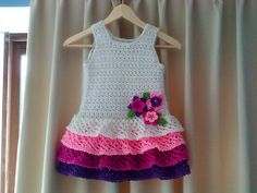Rows 'o Ruffles Dress - free crochet pattern •✿• Teresa Restegui http://www.pinterest.com/teretegui/ •✿•