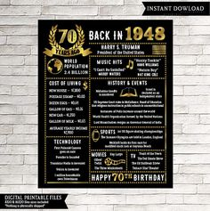 70th Birthday Poster - INSTANT DOWNLOAD - This 70th Birthday chalkboard sign is wonderful for someone born in 1948. It really makes a great gift for a 70th birthday! **this is a digital download only. Nothing will be shipped to you. You will receive a link to your digital 16x20 JPEG