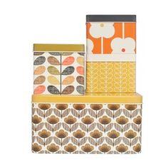 Så mye kult i denne nettbutikken!!! Oppbevaringsbokser med retrofeel og mye mer. Orla Kiely: Set of 4 Biscuit and Cracker Tins Brown