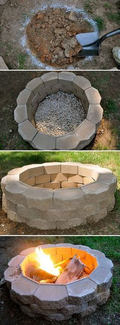 DIY Fireplace Ideas - DIY Fire Pit - Do It Yourself Firepit Projects and Fireplaces for Your Yard, Patio, Porch and Home. Outdoor Fire Pit Tutorials for Backyard with Easy Step by Step Tutorials - Coo (How To Build Patio Step) Backyard Projects, Outdoor Projects, Home Projects, Backyard Ideas On A Budget, Pergola Ideas, Diy Pergola, Pergola Kits, Porch Ideas, Back Yard Fun