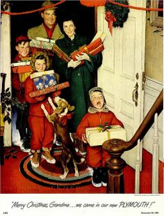 The best Norman Rockwell Christmas art, paintings, drawings and magazine covers. Celebrate holiday nostalgia with Vintage Norman Rockwell Christmas art. Peintures Norman Rockwell, Norman Rockwell Art, Norman Rockwell Paintings, Christmas Scenes, Noel Christmas, Vintage Christmas Cards, Retro Christmas, Hallmark Christmas, Family Christmas