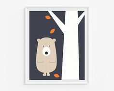 Woodland nursery wall art- Bear - Printable art- Navy blue and orange kids room decor- Instant download- 8x10 in digital pdf file- (A-278)