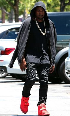 kanye west in air yeezy 2 red october 1 Kanye Spotted Looking Pissed in the Red October Yeezy 2s in LA