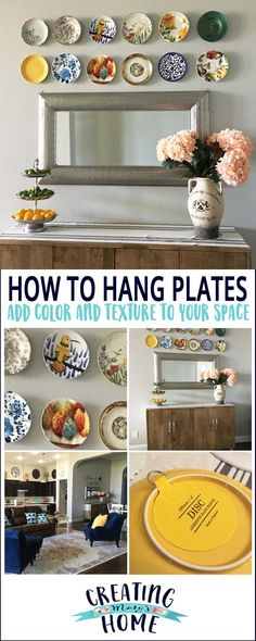 How To Hang Plates On Your Wall - creatingmaryshome. plate designs plate sets plate plate presentation dinner plate plate on wall photography Hang Plates On Wall, Plate Wall Decor, Dining Room Wall Decor, Kitchen Wall Art, Diy Kitchen, Bedroom Decor, Tee Set, Plate Display, Vintage Plates