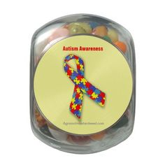 Autism Awareness Agrainofmustardseed Mixed Jelly Belly Beans (included)Candy Jar