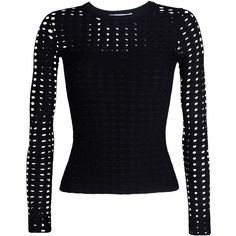 T By Alexander Wang Long Sleeve T-Shirt ($240) ❤ liked on Polyvore featuring tops, black, tube top, pattern tops, fitted tops, long tube top and long tops