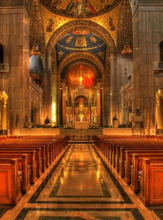 The Basilica of the National Shrine of the Immaculate Conception located on The Catholic University of America campus in Washington, D. Proud to be a student here. Old Catholic Church, Catholic Art, Roman Catholic, Catholic Churches, Cathedral Architecture, Sacred Architecture, Catholic University, Spiritual Images, Immaculate Conception