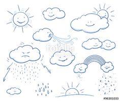 """Laden Sie den lizenzfreien Vektor """"Set of cute cartoon clouds and sun with rain, wind, thunder, rainbow, snow, sunset. Hand drawn vector illustration."""" von danielabarreto zum günstigen Preis auf Fotolia.com herunter. Stöbern Sie in unserer Bilddatenbank und finden Sie schnell das perfekte Stockbild für Ihr Marketing-Projekt!"""