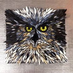 "Mosaic Owl "" All Ruffled Up"" Caren Zane Fishman"