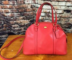 Coach Peyton Leather Cora Domed Satchel Red Purse Shoulder Bag Authentic #Coach #DomedSatchel