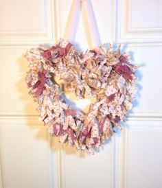 Heart Rag Wreath White with Pink Shabby by northandsouthshabby, $18.99