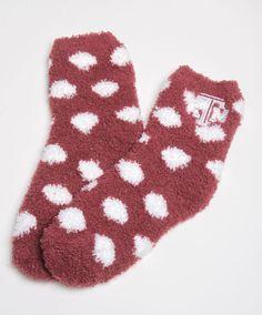 Texas A&M polka dot fuzzy socks. Christmas Presents For Friends, Christmas Ideas, Socks World, Warm Socks, Texas A&m, Cute Socks, Christmas Birthday, Sock Shoes, Polka Dots
