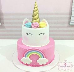 H - [board_name] - Kuchen Unicorn Themed Birthday Party, Unicorn Party, Unicorn Rainbow Cake, Unicorn Cakes, 5th Birthday, Birthday Cakes, Bolo Tumblr, Bolo Fack, Savoury Cake