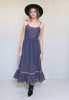 Vintage+1970's+Vera+Mont+Navy+Blue+Striped+Midi+Dress