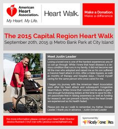 Graphic advertisement for Justin Leader's Heart Walk fundraiser