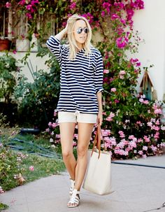 striped tee with shorts
