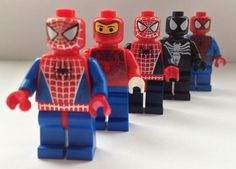 LEGO Spider-Man Minifigures...Should totally make a Ben Reilly mini fig! (But Iron Spidey was the best costume ever.)