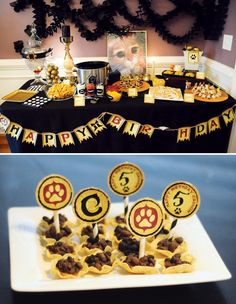puss-in-boots-party-food-table for birthday party
