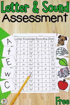 Are you looking for a way to track your children's knowledge of capital letters, lowercase letters, and letter sounds? This Letter Knowledge Assessment Resource has easy-to-read letters and simple pictures to help your kids easily identify letters and sounds so you accurately assess their knowledge. Click on the picture to get your free recording sheets, capital and lowercase letter cards, and picture cards for sounds! #letterknowledge #letterassessment #preschool #beginningsoundsassessment