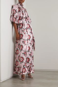 Red The Harmonizer ruffled floral-print silk satin maxi dress | THE VAMPIRE'S WIFE | NET-A-PORTER Fashion News, Fashion Online, The Vampires Wife, Event Dresses, Top Designer Brands, Dress First, Silk Satin, Party Dress, Vintage Outfits