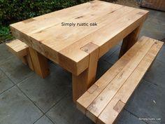 Outdoor Oak Beam Table: Long Rustic Oak Beam Garden Bench