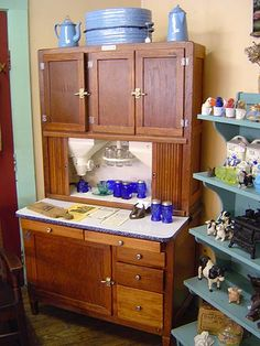 Antique Hoosier Cupboards   This Has The Old Flour Sifter And Spice Rack.  Love It